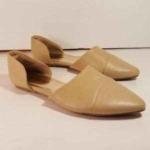 Bamboo D'orsay Beige Flats Size 6.5 Faux Leather